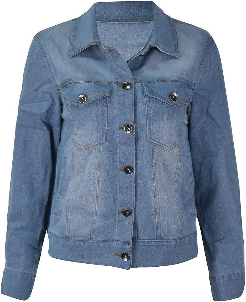 Women Cropped Denim Jacket Coat Oversized Jeans Jacket Overcoat Casual Trucker/Bomber Jacket Slim Long Sleeve Cowboy Outwear