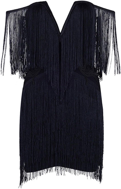 Ivan Johns Dresses Women Elegant Club Party Dresses Sexy V Neck Off Shoulder Tassels Embellished Mini Fringe Dress
