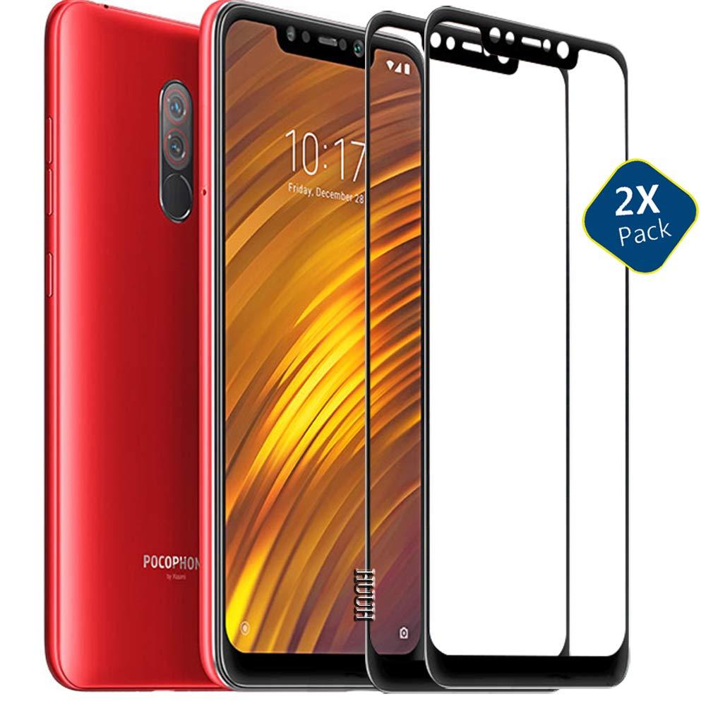 HUUH [2 Unidades] Xiaomi Pocophone F1 Protector de Pantalla, Cristal Templado Vidrio Templado,Bordes de Arco 5D,Grosor:0,33 mm,dureza de 9 H,transmitancia de Grado óptico(Negro): Amazon.es: Electrónica