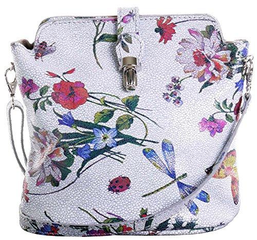 Primo Sacchi Damen Weiches Italienisches Leder handgefertigte verstellbare Riemen Cross Body oder Umhängetasche Handtasche Hellgrau Schmetterling