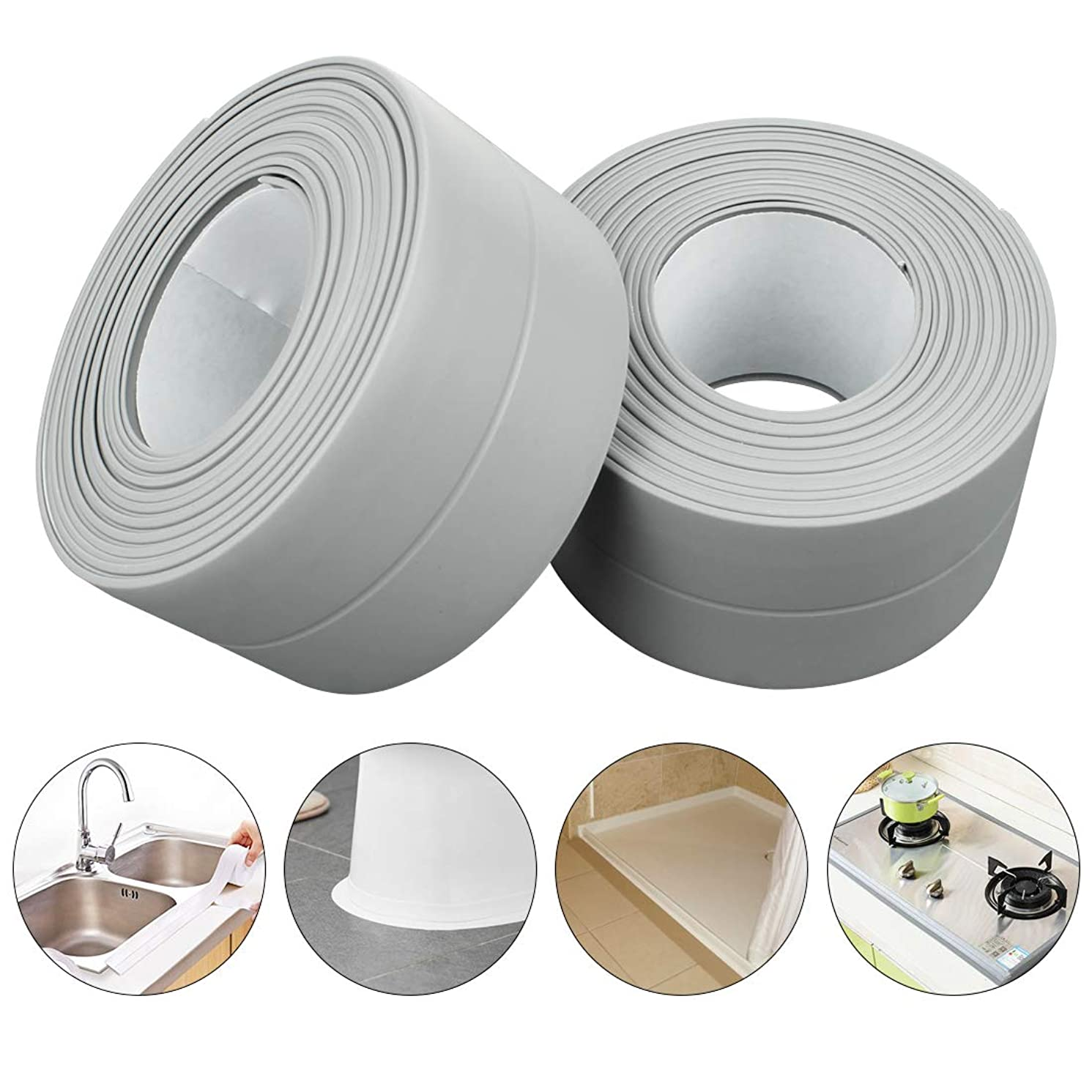 PVC Waterproof Sealing Tapes Pack of 2 Bathtub Caulk Strip Self Adhesive Waterproof Sealing Tape Edge Protector for Kitchen Countertop, Sink, Bathturb, Toilet, Gas Stove and Wall Coner, Grey