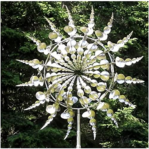 VOSTEVAS Unique and Magical Metal Windmill, 3D Wind Powered Kinetic Sculpture, Metal Wind Spinner Solar, Lawn Solar Wind Spinners for Yard and Garden, Wind Catchers Metal Outdoor Patio Decoration