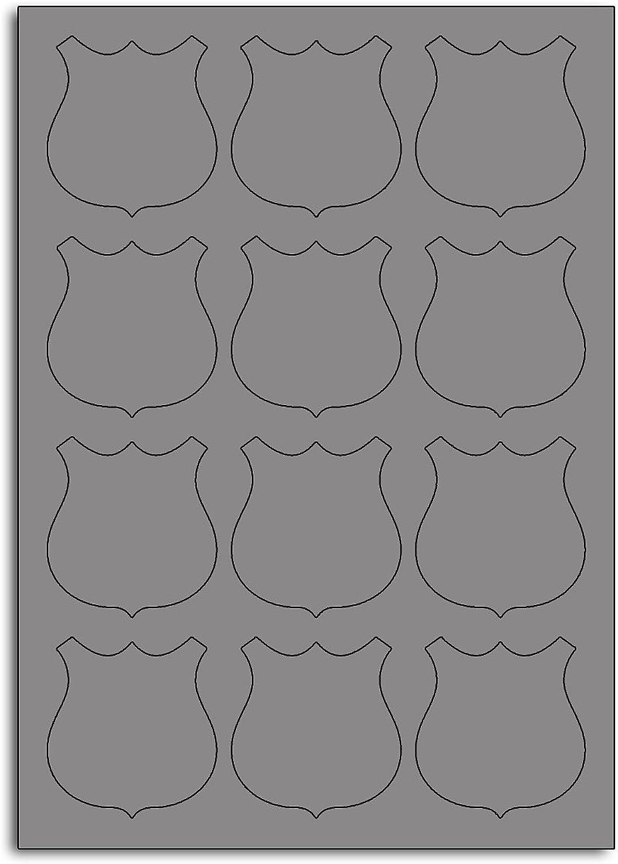 Multi Purpose Metallic Silber Shield Shaped Labels - 12 Labels Per Sheet - 10 Sheets 58mm x 63mm B00BY22F4W  | Roman