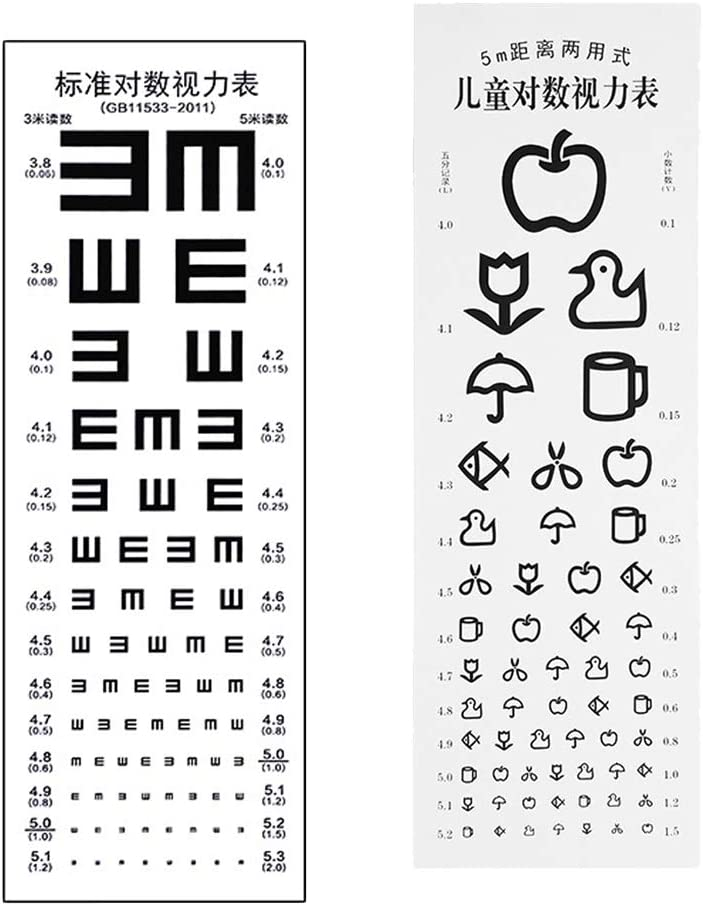 menolana Recommended 2 Pcs Eye Test Chart Home Max 75% OFF Testing Hosp Visual for