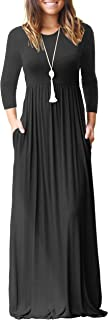 GRECERELLE Women Loose Long Sleeve Plain Maxi Dresses Casual Long Dresses with Pockets