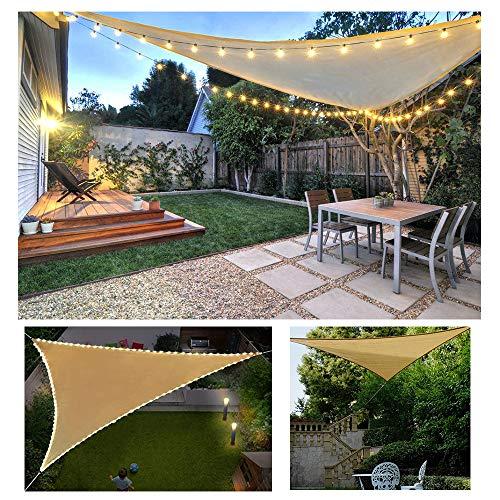 HOXMOMA Sonnensegel Dreieck Windschutz Durchlässig Atmungsaktiv Tear Resistant Wetterschutz UV Schutz für Outdoor Garten Terrasse mit Seilen (mit LED-Leuchten),Beige,2x2x2m