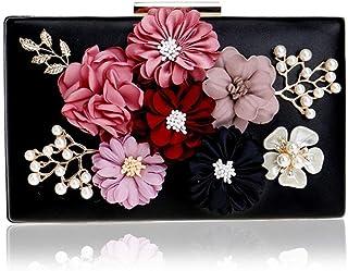 GLJJQMY Evening Bag Lady Flower Banquet Bag Fashion Evening Dress Clutch Bag Wallet Cosmetic Bag Evening Bags (Color : Black, Size : 20x12x4cm)