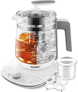 ICOOKPOT کتری برقی دمای شیشه ای کتری چای قابل کنترل کنترل قابلمه چای ، لیتر 2 لیتری چای ساز