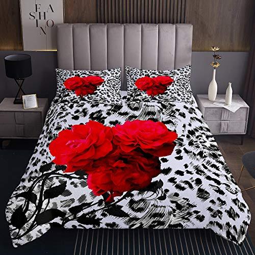 Bettüberwurf mit Leopardenmuster 220x240cm für Mädchen Luxus Rose Blumen Steppdecke Schick Rote Blumen Gepard Drucken Tagesdecke Wohndecke Schwarz Weiß Wohndecke