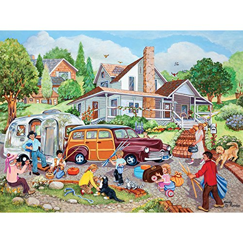 Bits and Pieces - 300 Large Piece Jigsaw Puzzle for Adults - Departure Day - 300 pc American Summer Jigsaw by Artist Sandy Rusinko
