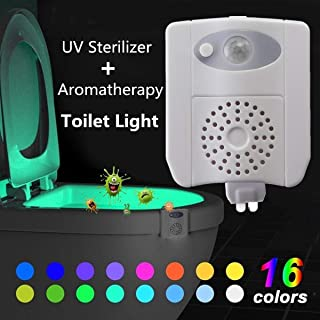 DELAMZ - 1W Smart Motion Activated Sensor LED Toilet Seat Night Light UV Sterilizer Seat Lamp Colorful WC Toilet Light Battery Powered