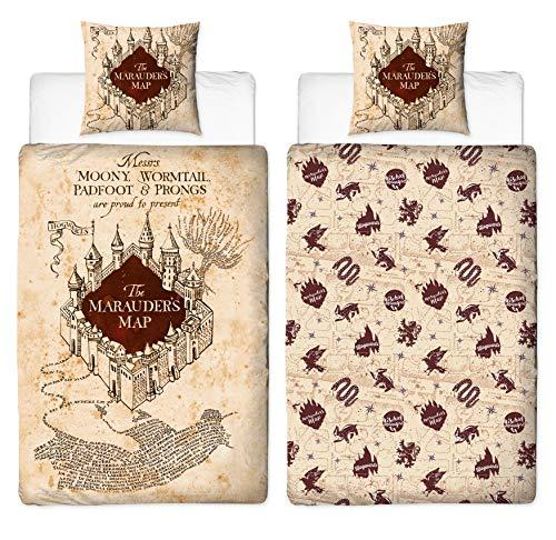 Character World Juego de cama reversible Harry Potter 135 x 200 cm 80 x 80 cm Mapa del Merodeador 100% algodón Hogwarts tamaño alemán