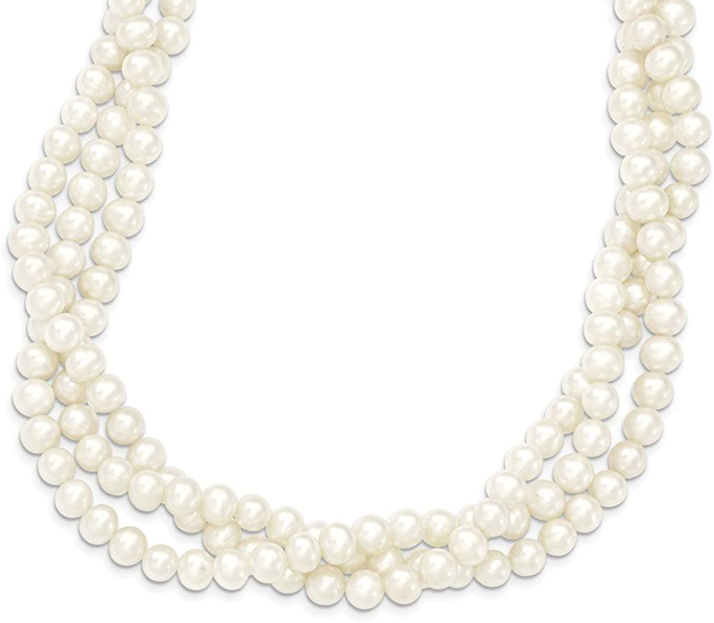 14k Yellow Gold 6-7mm White Near Round Freshwater Cultured Pearl 3-Strand Necklace 21