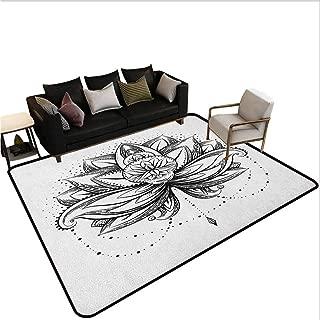 Lotus Kids Carpet playmat Rug Tribal Tattoo Style Lotus Petal with Dots Shadow Ornamental Tribal Icon Area entryway Rug Seal Brown White 7'6x10'