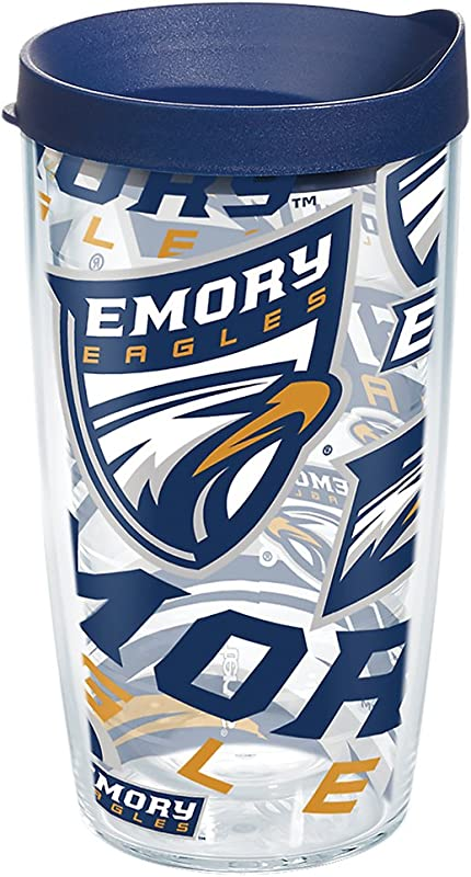 Tervis 1272302 Emory Eagles All Over Tumbler With Wrap And Navy Lid 16oz Clear