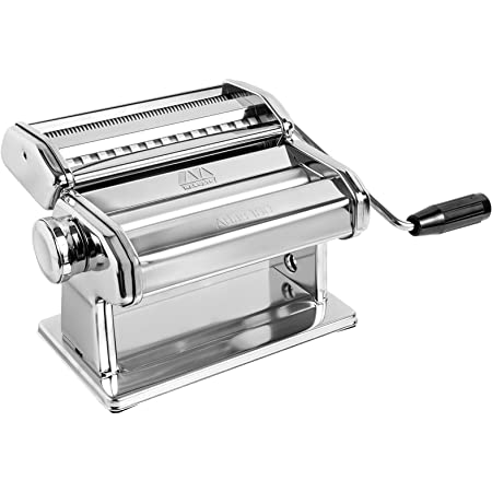 Marcato Atlas 180 Pasta, Made in Italy, Stainless Steel, 180-Millimeters Wide, Includes Machine with Cutter, Hand Crank, and Instructions