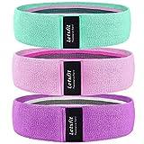 Letsfit Resistance Workout Bands for Legs, Light Blue, Pink, Purple 14.7 inch, Set of 3