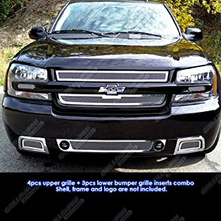 APS Compatible with 06-09 Chevy Trailblazer SS Mesh Grille Combo Insert C71007T