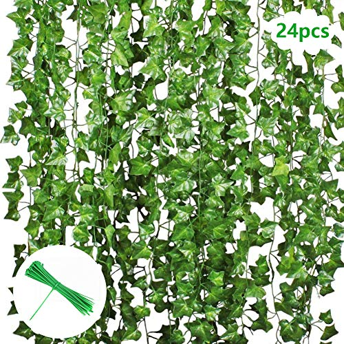 Hiedra artificial, Vine Green Ivy Leaves Garland 24 Paquetes Cada 82 pulgadas Planta colgante de hiedra para decorar la cerca de la pared Jardín al aire libre para el banquete bodas Navidad 50 piezas