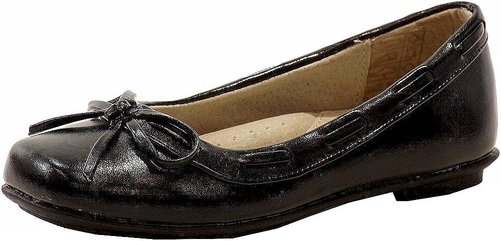 Easy Strider Girl's Classic Fashion Black Ballet Flat School Uniform Shoes