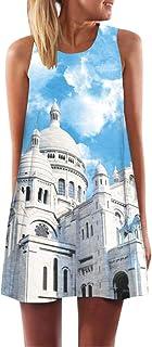 JUTOO Vintage Boho Frauen Sommer Sleeveless Strand Printed Short Mini Dress