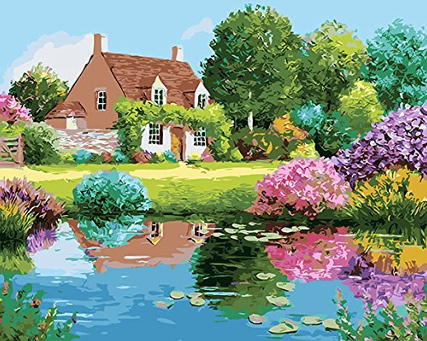 JynXos Paint By Number Hand Paintworks Digital DIY Oil Painting - House Garden River 16x20 Inch With Wooden Framed