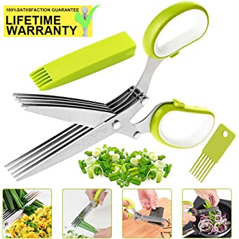 Herb Scissors,VIPMOON Multipurpose Kitchen Cutting Shear with 5 Stainless Steel Blades and Safety Cover