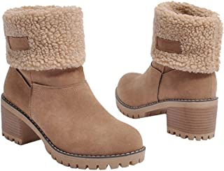 Women's Winter Short Boots Round Toe Suede Chunky Low Heel Faux Fur Warm Ankle Snow Booties