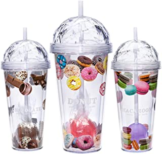 20 oz Double Walled Tumbler with Lids and Straws - Insulated Travel Mug Coffee Cup Gift Idea for Her, Mom, Wife, Girlfriend, Sister, Grandmother, Aunt - Birthday Gifts for Women (Donut)