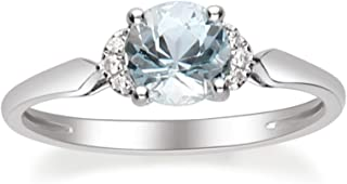 Gin & Grace 14K White Gold Blue Genuine Aquamarine Diamond (I1,I2) Ring for Women Mother's Day Jewelry Gifts