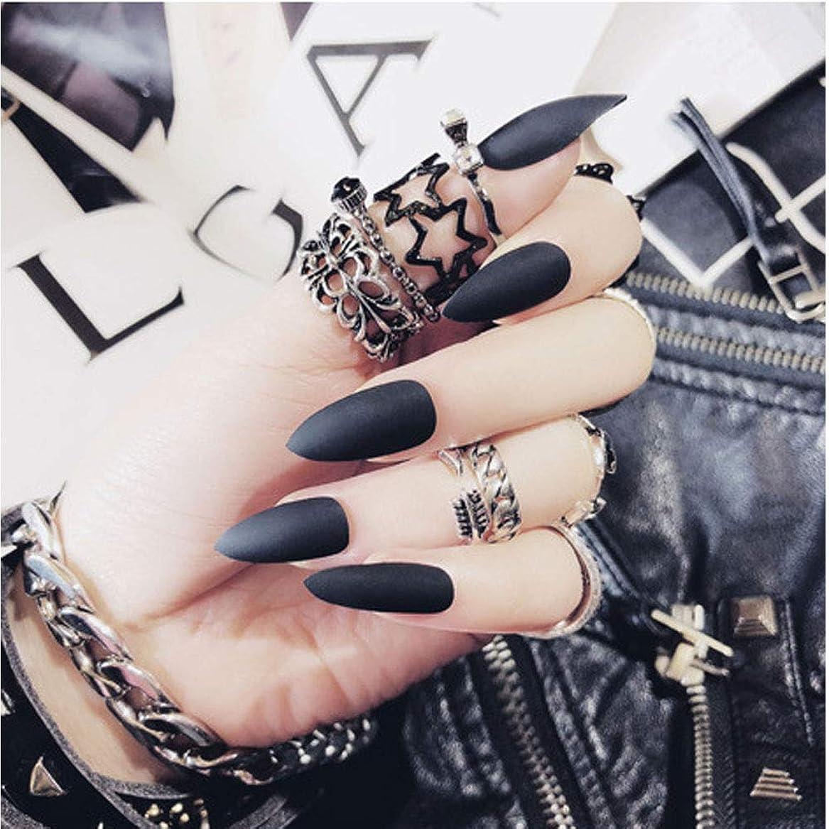 従順な受ける踏み台24Pcs 12 Different Sizes Matte Black Stiletto False Nails Long Full Cover Nails Tips (Black) (Black)