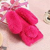 Case for LG K7,Warm Stylish Cute Artificial Rabbit Fur Bling Crystal Rhinestone Rabbit Ear Fluffy Soft TPU Case for LG K7/ LG Tribute 5(Rose)