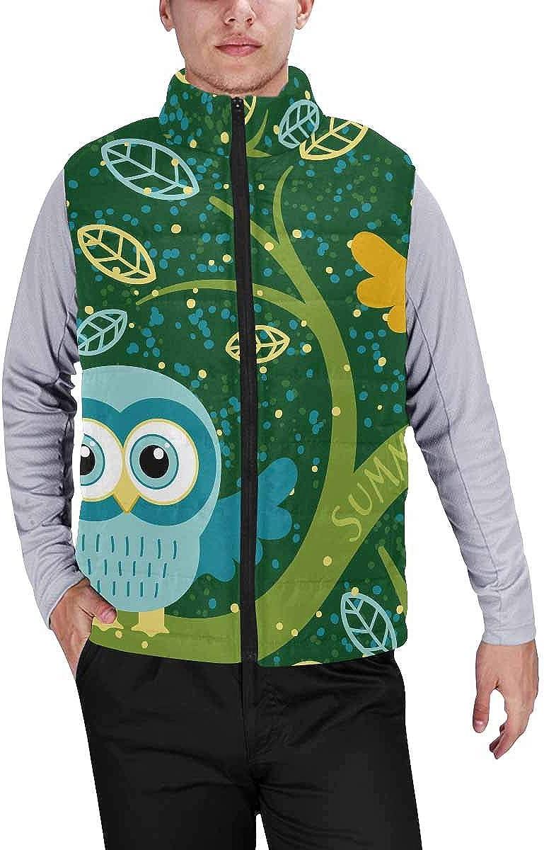 InterestPrint Men's Winter Full-Zip Outwear Padded Vest Coats Owl with Bell