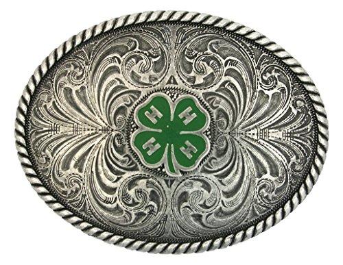 Montana Silversmiths Men's 4-H Emblem Classic Antiqued Attitude Belt Buckle Silver One Size