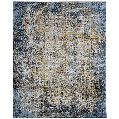Cairo Moderner Abstrakter Teppich, 61 x 91 cm, Gold/Blau/Grau