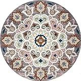 Z&H Ronde Marocain Tapis,Vintage Floral Américain Moquettes Décor Chambre Salon Topper Matelas Tapis De Tête Couverture-k 200x200cm(79x79inch)