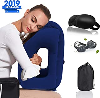 Povinmos Travel Pillow Sleep Aid Sets, Portable Head Neck Rest Inflatable Pillow, Design for Airplanes, Cars, Buses, Trains, Office Napping, Camping