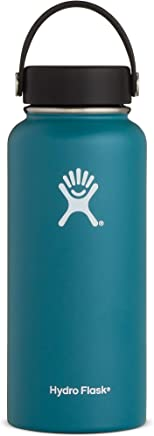 Hydro Flask 32 oz Double Wall Vacuum Insulated Stainless Steel Leak Proof Sports Water Bottle, Wide Mouth with BPA Free Flex Cap, Jade