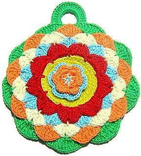 Agarradera redonda de colores de ganchillo - Tamaño: 14.5 cm x 16.5 cm H - Handmade - ITALY
