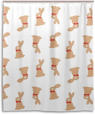 ウサギ柄防水バスカーテン100%ポリエステル生地家の装飾浴室のシャワーカーテン60×72インチ 165X180 CM
