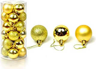 APSAMBR-24 Pieces Glitter Christmas Tree Gold Ball Baubles Xmas Party Hanging Ornament Christmas Decoration Gold