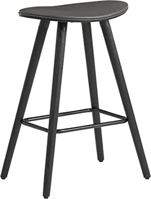 """Piper 26"""" Counter Height Backless Bar Stool in Grey Faux Leather and Black Wood"""