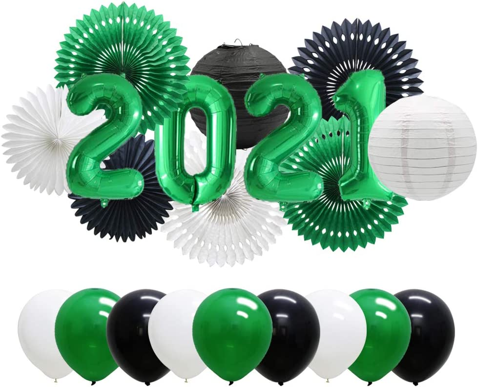 Green Popular standard Black 2021 Graduation Balloons Challenge the lowest price of Japan ☆ New Decorations Eve Years