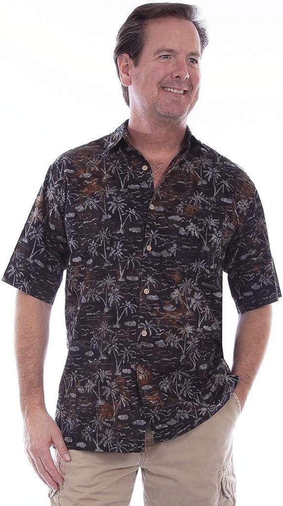 Scully Western Shirt Mens S/S Palm Tree Batik Button Night F0_5266