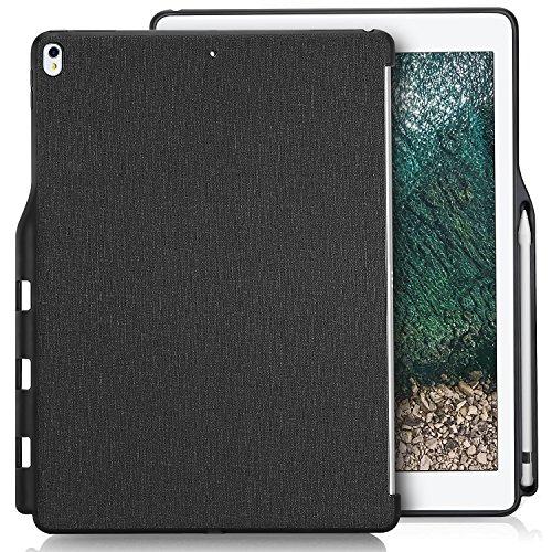 """ProCase iPad Pro 12.9"""" 背面ケース バックカバー ペンシルホルダー付き スマートキーボードとカバーに対応可能 適用機種: iPad Pro 12.9"""" 第1世代 2015 / 第2世代 2017 - ブラック"""