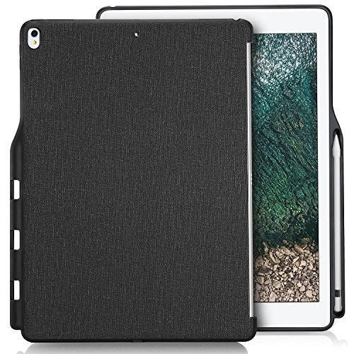 Apple iPad Pro 12.9(2017/2015) Custodia Retro, ProCase Cover Posteriore Sottile Copertura Protettiva con Apple Pencil Holder, Compatibile con Tastiera Smart keyboard e Smart Cover -Nero