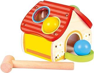 Bino & Mertens 84199 – pumphus, trä, färgglad, 6 st. Roligt motorcykelspel. Hållbar och stabil. Generationer av barn ser f...