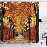 ABAKUHAUS Herbst Duschvorhang, Pathway in The Woods, Hochwertig mit 12 Haken Set Leicht zu pflegen Farbfest Wasser Bakterie Resistent, 175 x 200 cm, Orange Brown