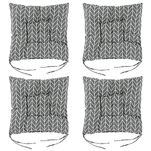 4 x Sitzpolster, 38 x 38 x 4 cm, Stuhlkissen mit Riemen, weiche Tatami-Esszimmerstühle für drinnen und draußen, Garten, Büro, Wohnzimmer (graues Blatt)