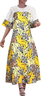 HD African Wax Print Dress for Woman Embroidery Floral Mermaid Maxi Dress with Head Wraps
